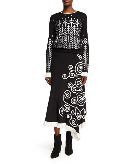 Swirl-Embroidered Midi Skirt