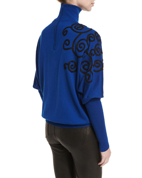 Swirl-Embroidered Batwing Turtleneck Sweater