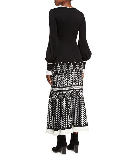 Geometric-Print Half-Zip Blouson Midi Dress
