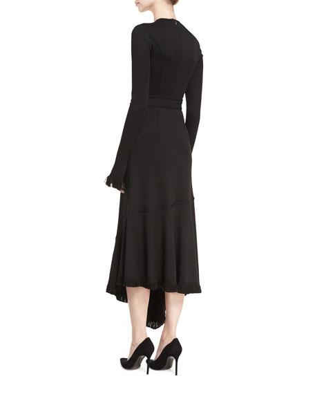 Long-Sleeve V-Neck Illusion Midi Dress