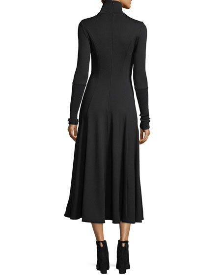 Ribbed Turtleneck Midi Dress