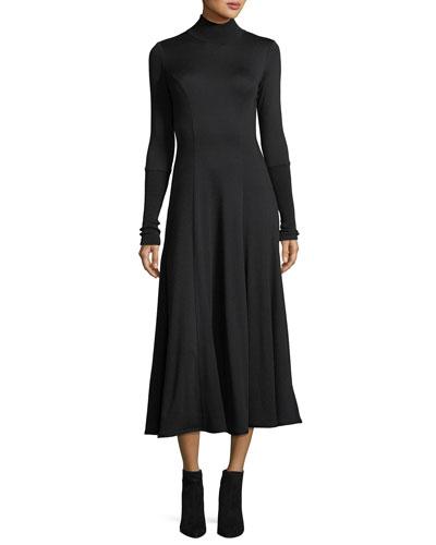 Ribbed Turtleneck Midi Dress