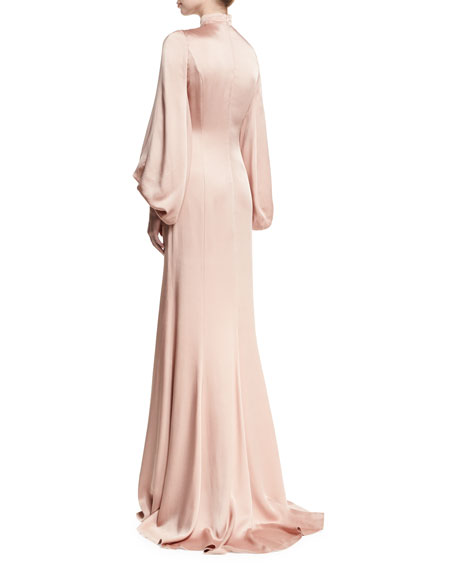 Mock-Neck Satin Blouson Gown
