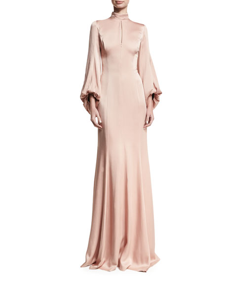 Mock-Neck Satin Blouson Gown