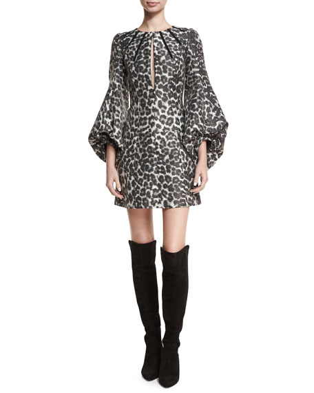 Leopard-Print Blouson-Sleeve Cocktail Dress