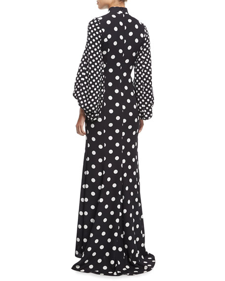 Mock-Neck Blouson-Sleeve Polka Dot Gown