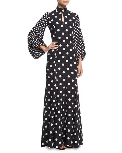Mock-Neck Blouson-Sleeve Polka Dot Gown