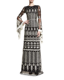 Geometric Fringed Bell-Sleeve Gown