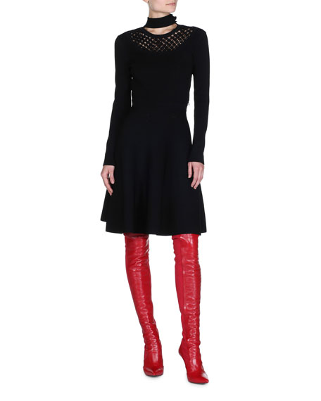 Long-Sleeve Knit A-Line Dress
