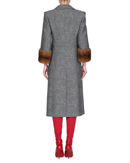 Mink-Cuff Chevron Mid-Length Coat