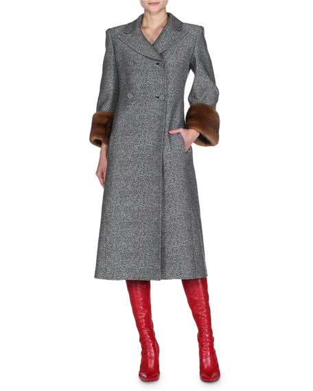 Mink-Cuff Chevron Mid-Length Coat