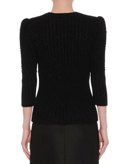 Zip-Front Metallic Knit Cardigan