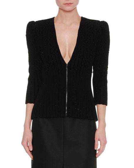 Zip-Front Metallic Knit Cardigan