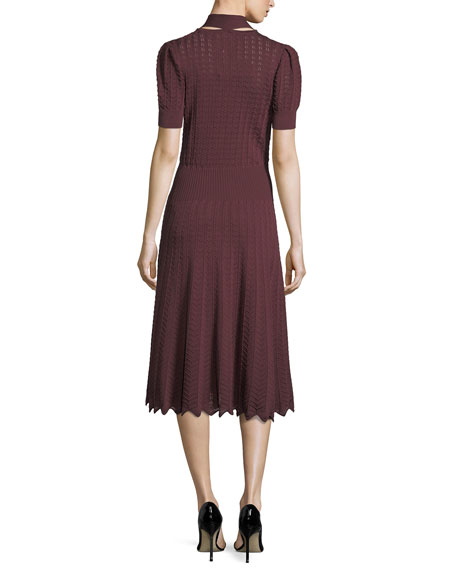 Short-Sleeve Tie-Neck Midi Dress