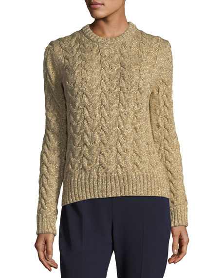 Metallic Cable-Knit Crewneck Sweater