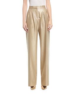 Pleated Metallic Pants