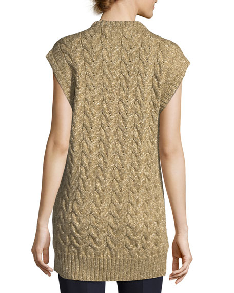 Metallic Cable-Knit Tunic Sweater