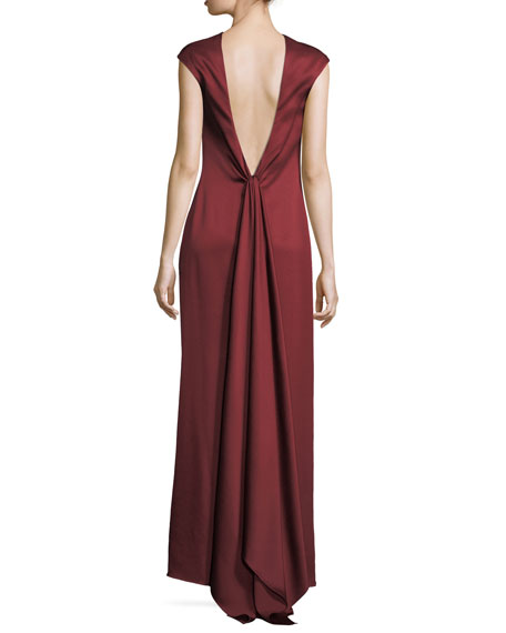 Satin Open-Back Column Gown