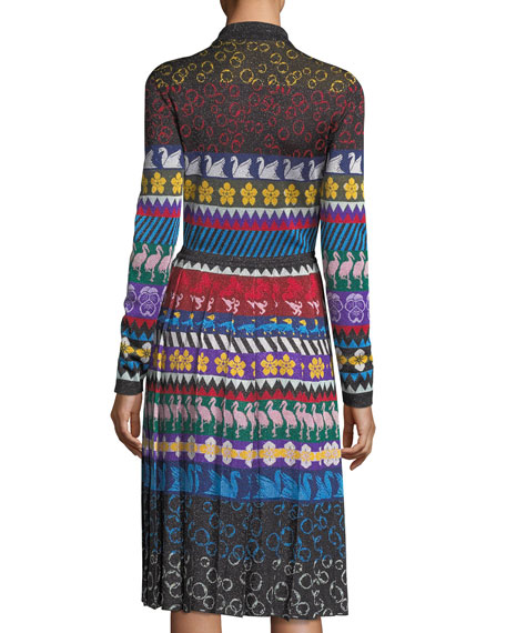 Knit Swan-Print Button-Front Dress