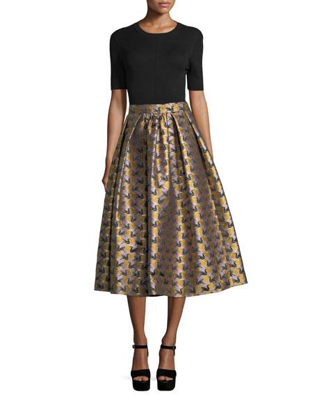 Swan Jacquard Midi Skirt