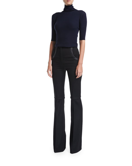 Boot-Cut Wool Pants