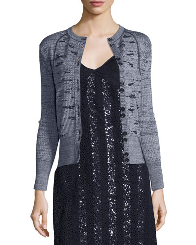 Sequined Rib-Knit Cardigan