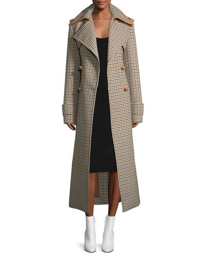 Long Check Wool Coat