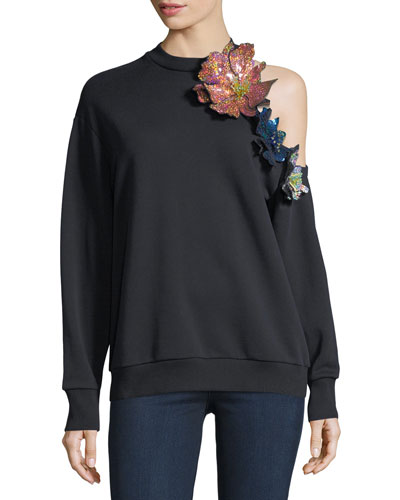 Floral-Embellished Cold-Shoulder Sweatshirt