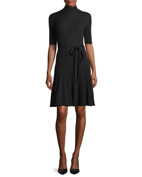 Elbow-Sleeve Tie-Waist Dress