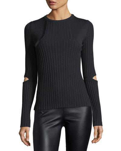 Elbow-Slit Crewneck Sweater