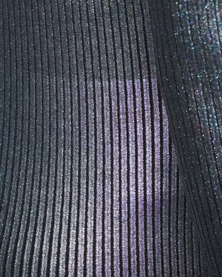 Long-Sleeve Foil Metallic Bodycon Mini Dress