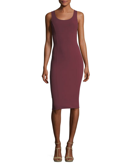 Wool Crepe Scoop-Neck Sheath Dress