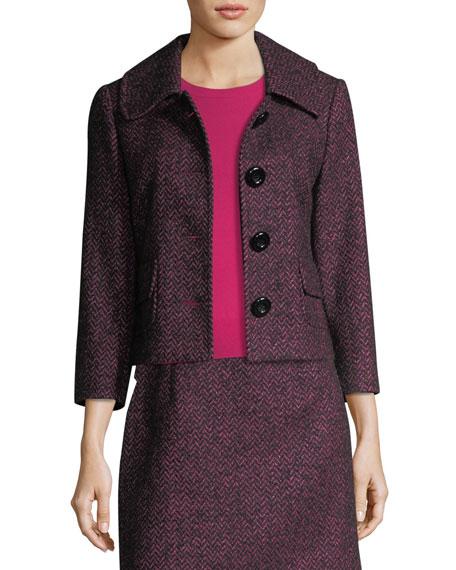 Michael Kors Collection Herringbone Tweed Cropped Jacket