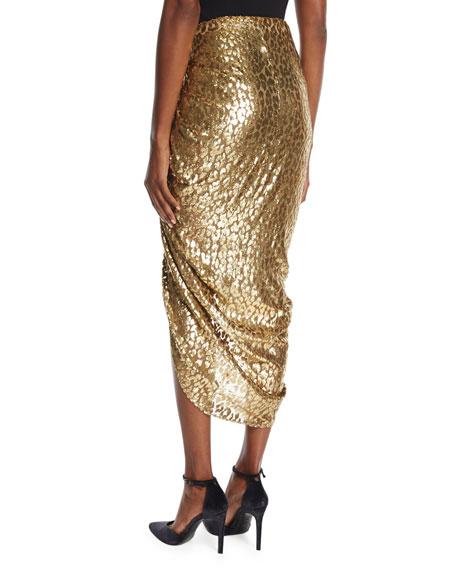 Metallic Cheetah Fil Coupe Sarong Skirt