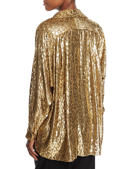 Metallic Cheetah Fil Coupe Shirt
