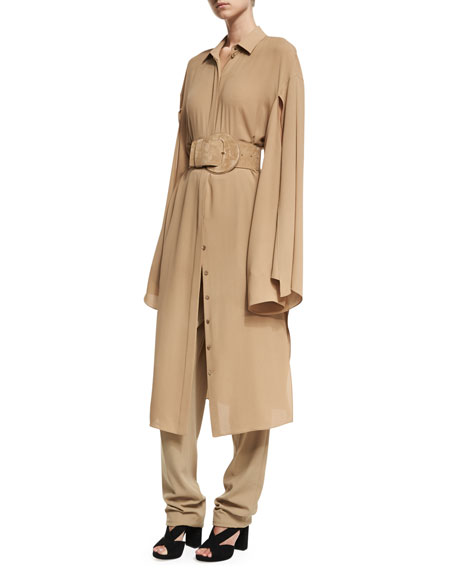 Silk Georgette Slit-Sleeve Midi Shirtdress