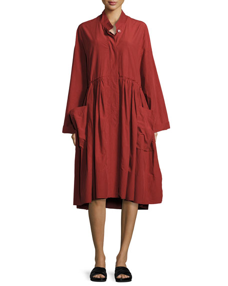 Smocked Utilitarian Tunic Dress, Red