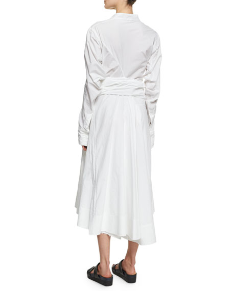 Long-Sleeve Poplin Wrap-Front Shirtdress, White