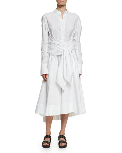 Long-Sleeve Poplin Wrap-Front Shirtdress, White