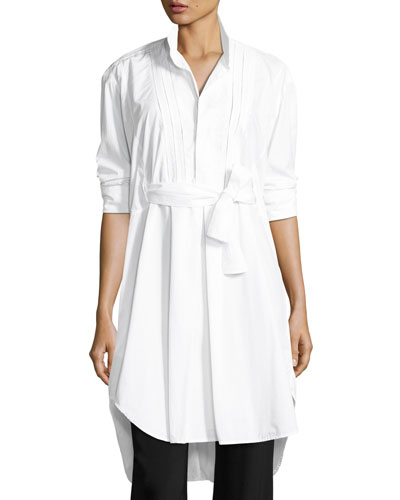 Belted Cotton Bib-Front Tunic, White