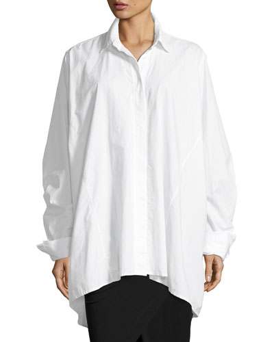 Oversized Poplin Blouse, White