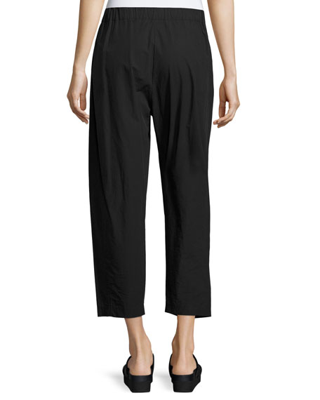 Cropped Pleat-Front Pants, Black
