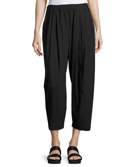 Cropped Pleat-Front Pants, Black