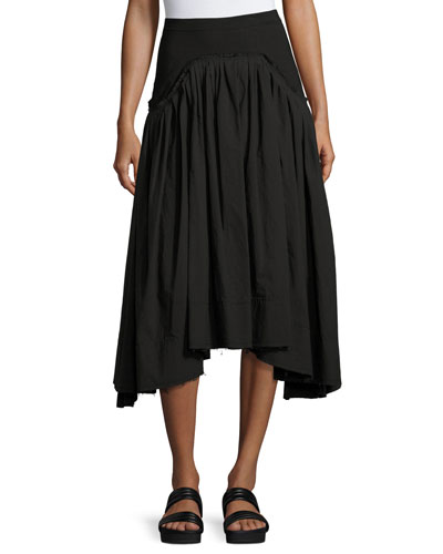Pleated Poplin Midi Skirt, Black