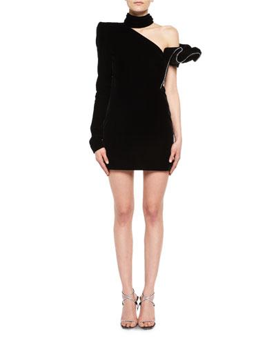Crystal-Trim One-Shoulder Velvet Cocktail Dress