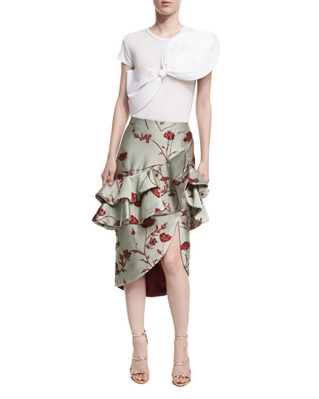 Yordana Ruffled Jacquard Skirt