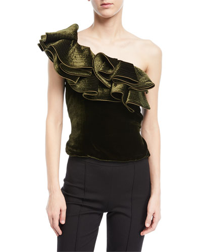 Lorca One-Shoulder Velvet Bodysuit