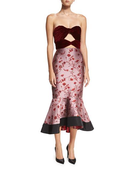 Lavina Strapless Velvet Jacquard Combo Dress