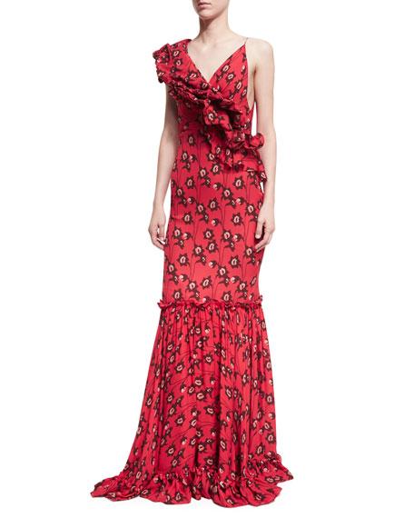 Saint Sarah Ruffled Floral-Print Gown