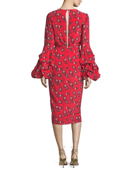 Dondola Plunging Bell-Sleeve Dress